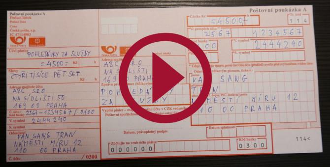 """VIDEO___ Hướng dẫn cách điền phiếu gửi tiền qua Bưu điện """"ČESKÁ POŠTA"""""""